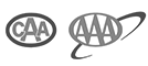 black and white CAA & AAA logo approved on website
