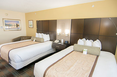 double queen room features two queen-sized beds great for families